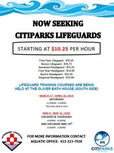 Lifeguard poster for Citiparks 2018