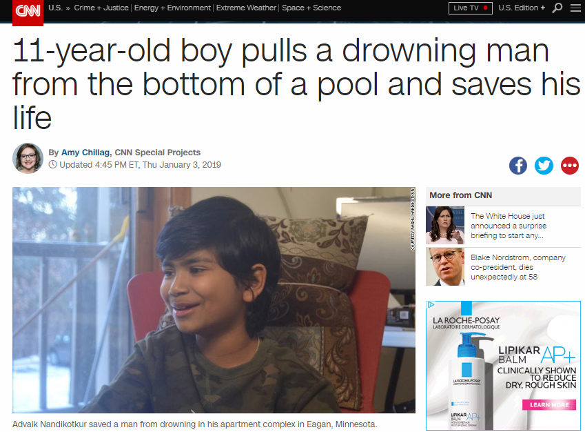 CNN web page with photo of boy, 11.